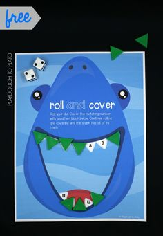 Awesome roll and cover shark game! Such a fun way to work on adding, number recognition and counting. Such a fun summer activity for kids.