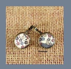 Dormeuses liberty mauvey marron 15 mm : Boucles d'oreille par crocmyys