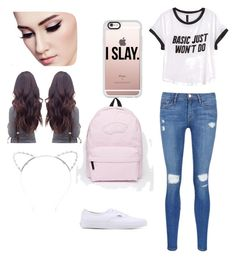 """""""Basic school outfit"""" by lol-angelina ❤ liked on Polyvore featuring H&M, Frame Denim, Vans, Casetify and Lipsy"""