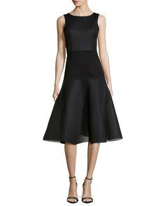Vogue Bateau Fit-and-Flare Dress, Black - Black Halo