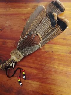 Smudge fan made with materials we had on hand. This is my husband's creation. Well done! Feather Crafts, Feather Art, American Indians, Native American, Feather Bouquet, Bear Mask, Dream Catchers, Smudging, Peacock