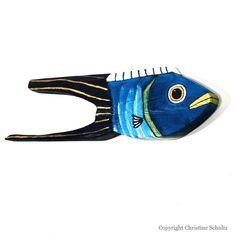Fish Decor on Reclaimed Wood Painted Turquoise Folk Art