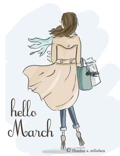 Heather Stillufsen Collection from Rose Hill Designs Seasons Months, Months In A Year, 12 Months, Positive Quotes For Women, Hello March, Girly, Hello Weekend, New Month, Illustrations