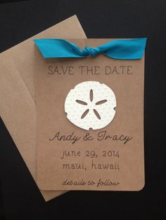 6cc24e6e0ce451 Sand Dollar Save the Date for Beach Theme Wedding by SimpleandPosh
