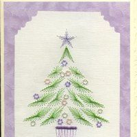 Paper embroidery photo: Beaded tree with mauve baubles on mauve swiirled paper Seasonal_beaded_tree_purple_baubles_mauve_swirled_paper.jpg