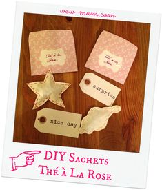 Mon 1er Swap : le Barjo Nowel de ma swappée #1 (tutos inside) - Wow ... Mum !! Diy Tea Bags, Barrettes, Place Cards, Place Card Holders, Rose, Mom Of Twins, Christmas Projects, Pink, Roses
