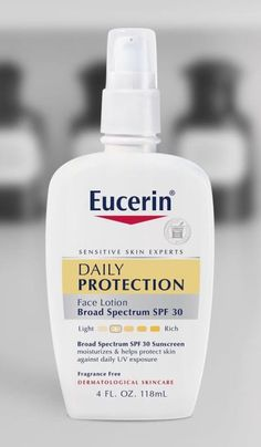 """Promising review: """"I have extremely sensitive skin — I once tried a drugstore mask and looked like I was burned in a fire! I know I need sunscreen but I have a hard time because everything I try gives me blotches and redness. My dermatologist gave me a few samples of this Eucerin lotion, so I tried it. It goes on smoothly and doesn't have any greasy feeling, and most importantly, it doesn't break me out! I've used Clinique and other high-end brands, but this is way more affordable.""""…"""