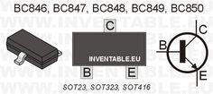 Serie BC848 para montaje superficial en encapsulado SOT23 con indicación de las patillas correspondientes.