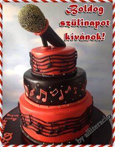 születésnap, képeslap, mikrofon, hangjegyes torta