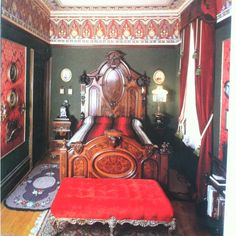 Richard Reutlinger's late-19th century bedroom in his san francisco victorian, walls stenciled by Larry Boyce