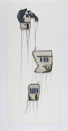 Edward Taylor Edward Taylor - Three Sections Embroidered Building (Windemere, Lancashire - C.A Voysey) Textile Fiber Art, Textile Artists, Arte Fashion, Creative Textiles, Thread Art, Sewing Art, Art Plastique, Embroidery Art, Fabric Art