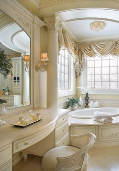 Outstanding ivory master bathroom....Photo By  -  Peter Rymwid: