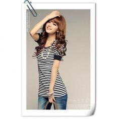 Delicate Round Neckline Stripes Bowknot Embellished Black Short Sleeves Blouse
