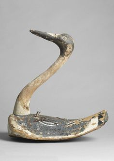 Long Necked Waterfront Decoy - Hand Carved and Painted Wood and Palm, French, c.1880