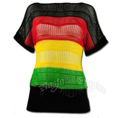 This knit top has horizontal rasta stripes with black. The waist features a thick elastic black band. This shirt is see through and very light weight.