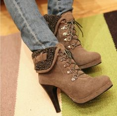 Latest Popular star -Ankle Boots High Heel Ankle Boots (black,gray,khaki)