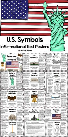 "Your students will love learning interesting facts and the history behind 12 of America's most iconic symbols with these American Symbols Informational Text Posters. Color and b/w copies are included for your printing needs. May be used as an ""Around the Room"" activity when completing the enclosed scavenger hunt. They can also be printed as a coloring book. $"