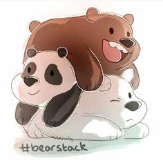 "We Bare Bears - Grizzly ""Grizz"", Panda, Ice Bear Cartoon Wallpaper, Bear Wallpaper, Cartoon Network Shows, Cartoon Shows, We Bare Bears Wallpapers, Cute Wallpapers, 3 Bears, Anime Dolls, Cute Images"