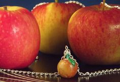 Polymer apple pendant Clay miniature on a by KooshyJewellery