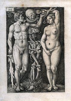 Beham, (Hans) Sebald Adam und Eva/Adam and Eve. Memento Mori, Dance Of Death, Adam Et Eve, Satanic Art, Danse Macabre, Macabre Art, Albrecht Durer, Vanitas, Renaissance Art