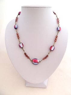 1920s foiled glass bead necklace with rolled gold links
