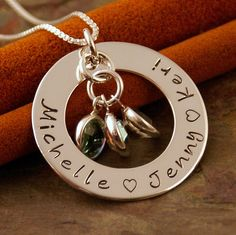 Personalized Mommy Necklace - Hand Stamped Sterling Mommy Jewelry - Silver Washer - Family Circle of Love. $52.00, via Etsy.
