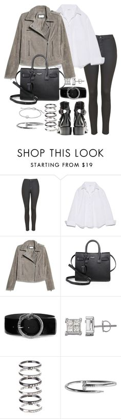 """""""Untitled #3076"""" by theeuropeancloset ❤ liked on Polyvore featuring Topshop, MANGO, Yves Saint Laurent, M.N.G and David Yurman"""