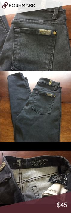 7FAM - the high waist ankle skinny Skinny and stretchy! Great condition. Awesome brand! Dark gray. 28 inch inseam. 7 For All Mankind Jeans Skinny