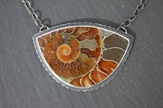 Ammonite Fossil Sterling Silver Designer Pendant by ZenergyJewelry
