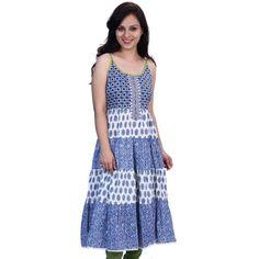 Printed Blue Cotton Kurti - Satrangi Bazar