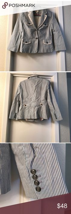 """LOFT STRIPED BLAZER Beautiful and classy! Excellent pre-owned condition, with some piling. Size: 12, color: blue and white striped. Measurements: approximately 22"""" length from back of neck to bottom, 13.5"""" length from armpit to end of sleeve. No trades, offers welcome. LOFT Jackets & Coats Blazers"""