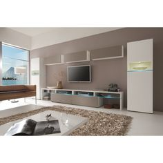 Largest Entertainment Centers and Wall Units collection: Elevate the comfort level in your living room and entertainment area with this amazing Wall Unit combination by Creative Furniture. This wall u Custom Entertainment Center, Modern Wall Units, Woman Cave, Concrete Floors, Home Deco, Interior Decorating, Interior Designing, Space Saving, Living Room Furniture