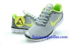 huge selection of 3a594 873b4 Mujer Nike Free 3.0 V2 Zapatillas (color   vamp - gris , en el interior y  logotipo - verde   sole - blanco)