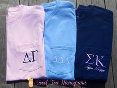 Short Sleeve Greek Letter Embroidered Pocket T-shirt. Delta Gamma, Delta Girl, Tri Delta, Sigma Kappa, Theta, Alpha Chi Omega, Alpha Phi, Sorority Sisters, Sorority Life