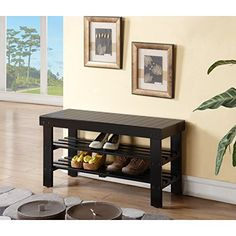 Black Finish Solid Wood Storage Shoe Bench Shelf Storage and functionality combine to shape this solid wood bench. This bench provides extra seating, two-tier Entryway Shoe Storage, Entryway Furniture, Bench Furniture, Furniture Deals, Living Room Furniture, Home Furniture, Wood Storage, Storage Ideas, Apartment Furniture