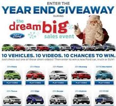 fordeventgiveaway com – The 2013 Year End Giveaway from Ford. Another great car sweepstakes for you!