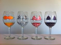I love wine and these are sooo cute....Bikini Wine Glasses by TheLuckyPear on Etsy, $80.00