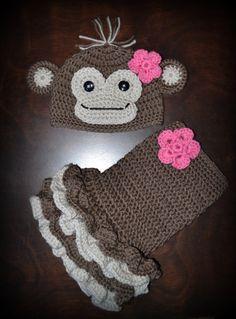Crochet Monkey Baby Beanie Hat & Matching Tutu Dress Photo Prop Custom Made Boy Girl Costume $55