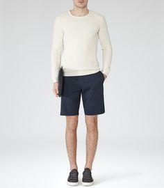 Mens Navy Tailored Chino Shorts - Reiss Wicker