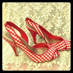 Checkered Open-Toe High Heels These red and white checkered heels with just a peek of open toe showing are Hot! Hot! Hot! Have fun pairing these with your favorite jeans, leggings or skirt and favorite sweater. The fashion combinations are endless. Jessica Simpson Shoes Heels