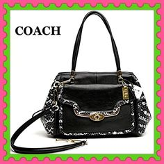 """2xHPAuthentic Coach Python Embossed LeatherBag % AUTHENTIC ✨ This is the beautiful two tone python embossed leather handbag from Coach  GORGEOUS  Zip top closure  Fabric lining ✨ Turnlock outside pocket Pockets inside✨ Length approximately 16"""" Height 9"""" Width 6"""" Long strap drop 14"""" and  top handle 8"""" Yellow gold tone hardware  NO TRADE PRICE FIRM SOLD OUT IN STORES ✨ Coach Bags Satchels"""