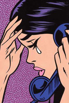 Telephone Crying Girl Canvas Art Print by Allyson Gutchell Pop Art Drawing, Cool Art Drawings, Art Sketches, Small Canvas Art, Canvas Art Prints, Bd Pop Art, Tableau Pop Art, Pop Art Images, Vintage Pop Art
