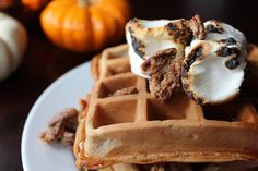Sweet Potato Waffles with Candied Pecans.  http://sweetstacks.com/sweet-potato-waffles-candied-pecans/