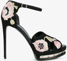 Alexander McQueen embroidered floral platform sandals