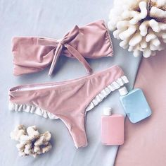Pink Brazilian Bikini Sets Hot Velvet Swimwear Women Swimsuit Brazilian bikini bottoms Bathing Suit Swim Wear maillot de bain