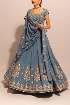 BlueGrey Georgette Gota Motif Lehenga – BlueGrey Georgette Gota Motif Lehenga – BlueGrey Georgette Gota Motif Lehenga Related posts: The Best Bridal Buys Of The Month! Indian Gowns Dresses, Indian Fashion Dresses, Dress Indian Style, Indian Designer Outfits, Pakistani Dresses, Indian Designers, Fashion Outfits, Designer Dresses, Indian Lehenga