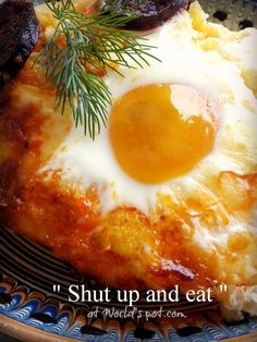 shut up and eat - polenta, sour cream, smoked sausage, feta cheese and eggs