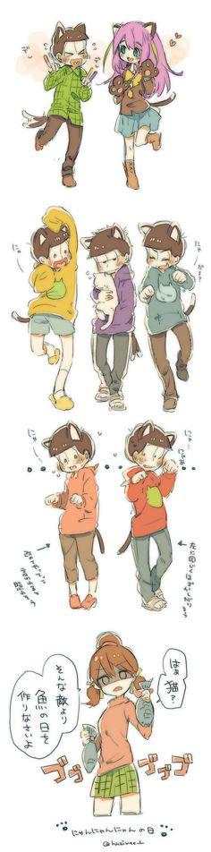 Osomatsu-san - Nyaa-chan, Choromatsu, Jyushimatsu, Ichimatsu, Karamatsu, Todomatsu, Osomatsu & Totoko #Anime「♡」