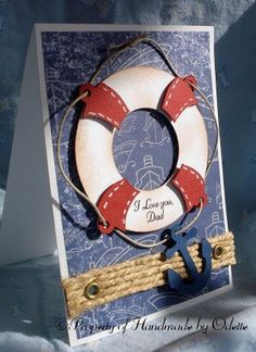 Could use CTMH Tommy paper and burlap ribbon to create a version of this card.  Cricut Father's Day Card. The lifesaver and anchor from Life is a Beach Cartridge.