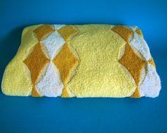 Harlequin Mod Beach Towel - Vintage Retro Lemon Yellow Bath Sheet - Olympic Jac Art - Made in Australia Yellow Baths, Light Pull, Bath Sheets, Lemon Yellow, Beach Towel, Really Cool Stuff, Towels, Retro Vintage, Australia